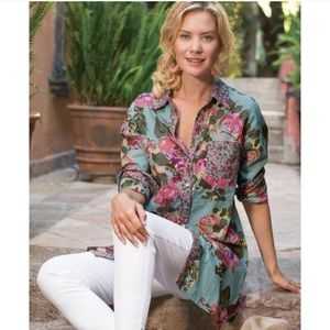 Soft Surroundings Scattered Roses Floral Tunic Top